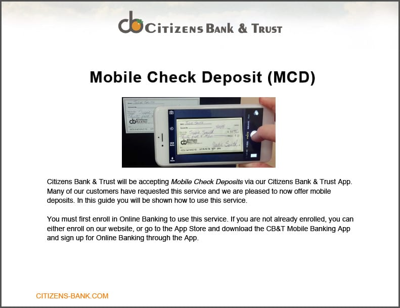 Citizen s Bank and Trust Mobile Check Deposit Citizen s